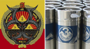 Apocalypse Ale Works logo, left, and Three Brothers Brewing kegs