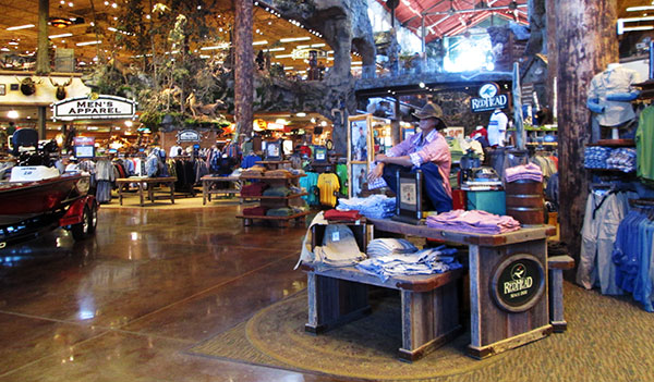 Bass Pro Shops: White River Outpost at the Branson Landing. -Only 14 miles from Big Cedar Lodge. Bass Pro Shops: Outdoor World, first Bass Pro Shops store in the world.