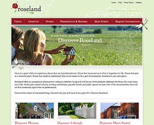 A screen grab of the Roseland website.