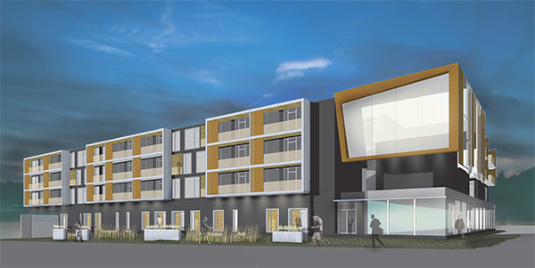 A rendering of the planned 75,000-square-foot Port RVA apartment building. (Courtesy of SMBW)