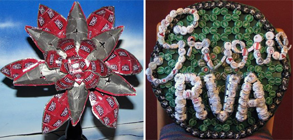 Custom bottle-cap art for Hardywood Park Craft Brewery, left, and GrowRVA. (Photos courtesy of CapWorks)