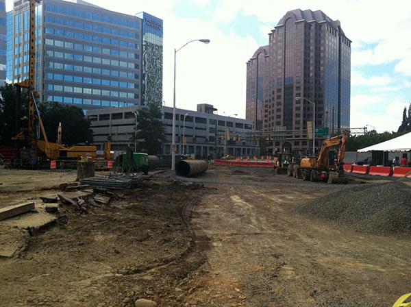 The Gateway Plaza site was once was the Eighth Street Connector. (Photo by Michael Schwartz)