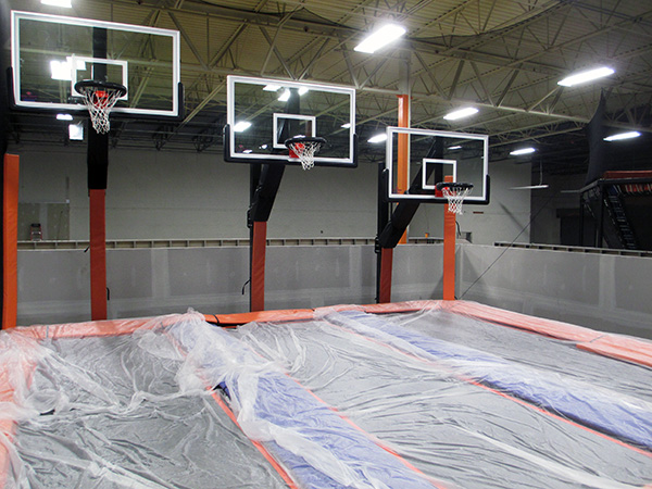 "The ""Sky Slam"" court at Sky Zone Richmond."