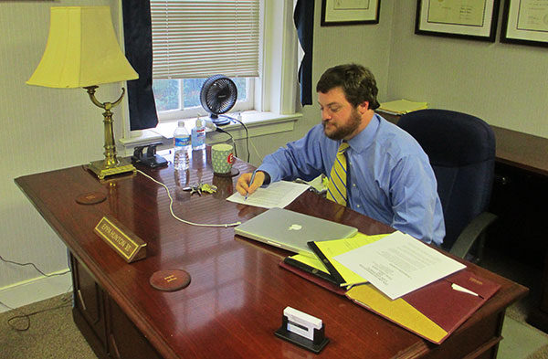 Eppa Hunton VI works at his Richmond Legal Development Center office. (Photo by Brandy Brubaker)