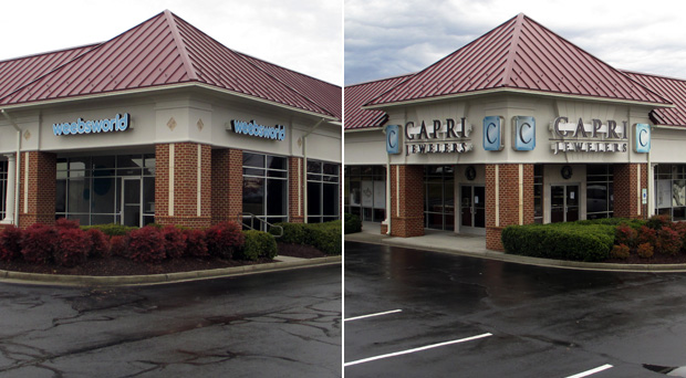 Weebsworld, left, and Capri Jewelers recently closed at Short Pump Crossing. (Photos by Michael Thompson)