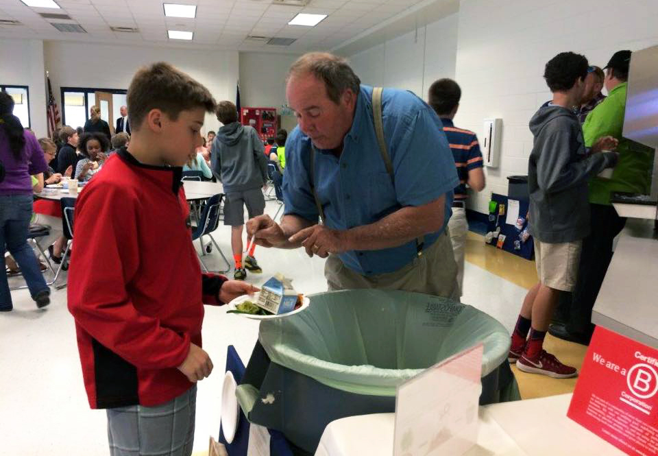 Chip Hall talks with a student at The Steward School about composting. Photos courtesy of NOPE.