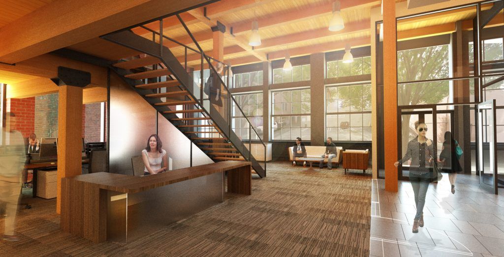 A rendering of the building's first floor, which includes two 2,000-square-foot space. Image provided by