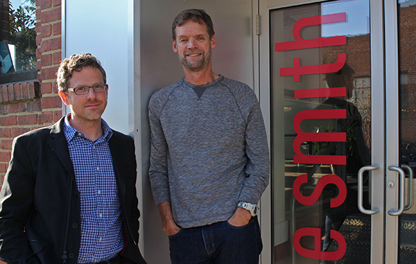 Christian Markow (left) and Barry Saunders have merged their startup into a larger local firm. Photos by Jonathan Spiers.