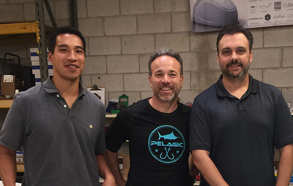 David Berv (center) at Superior Float Tanks in Norfolk. His new flotation therapy business will house four such tanks. Photos courtesy of The Float Zone.