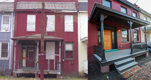 Before and after shots of 2305 Venable St. Photos courtesy Better Housing Coalition.