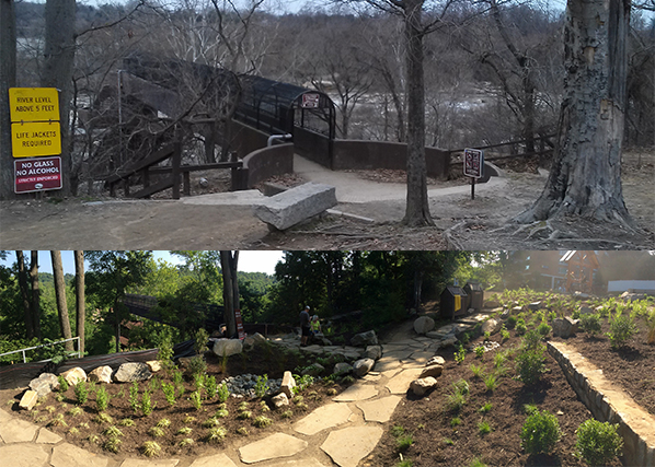 Before and after shots of 21st Street Pedestrian Bridge Park.