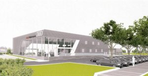 A rendering of the dealership included in county filings.