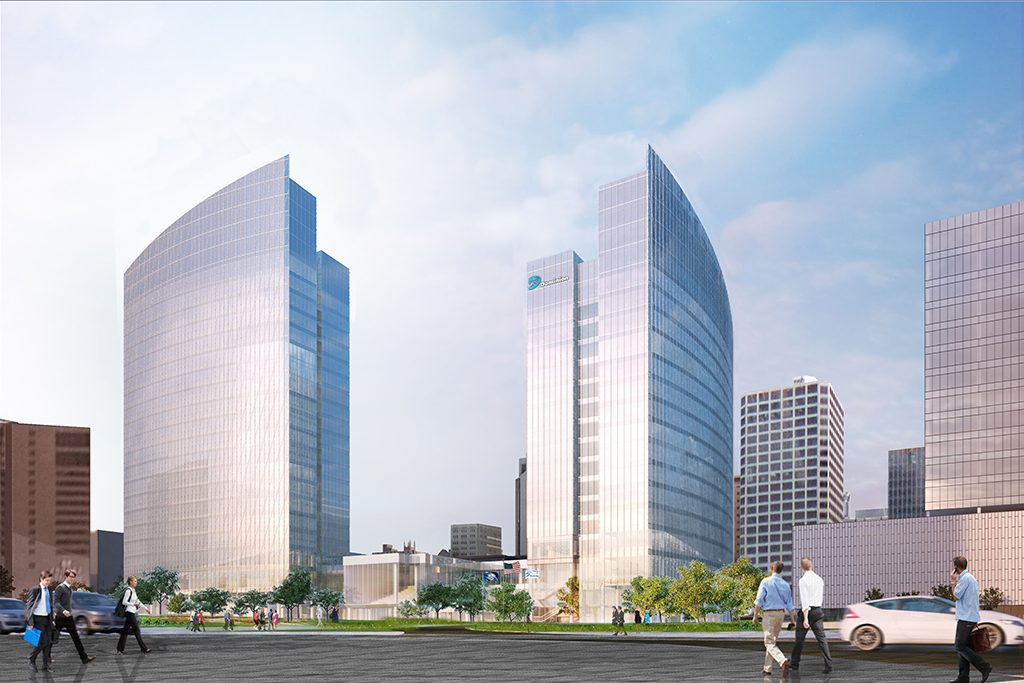 In this view from Kanawha Plaza, the confirmed new tower sits to the left. The other potential new building is to the right where One James River Plaza currently sits.