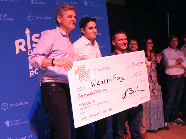 (From left) AOL co-founder Steve Case presents a $100,000 prize to Mat Dellorso and Fred Bryant (right). Photo by Michael Thompson.