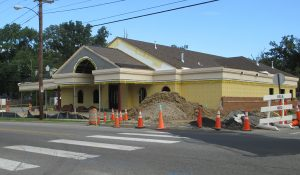 The new chapel under construction across from Scott's Funeral Home.