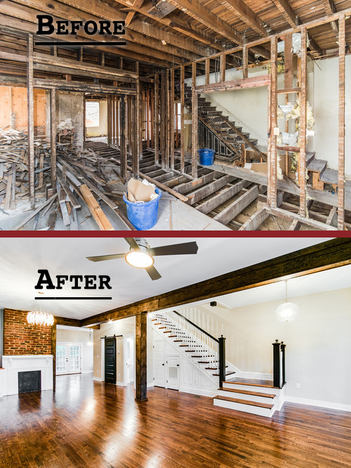 The basement of a home before and after renovations.