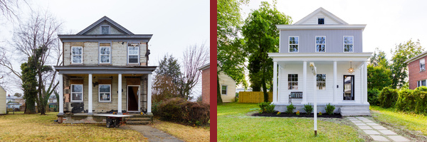 2712 Fendall Ave., before and after renovations.