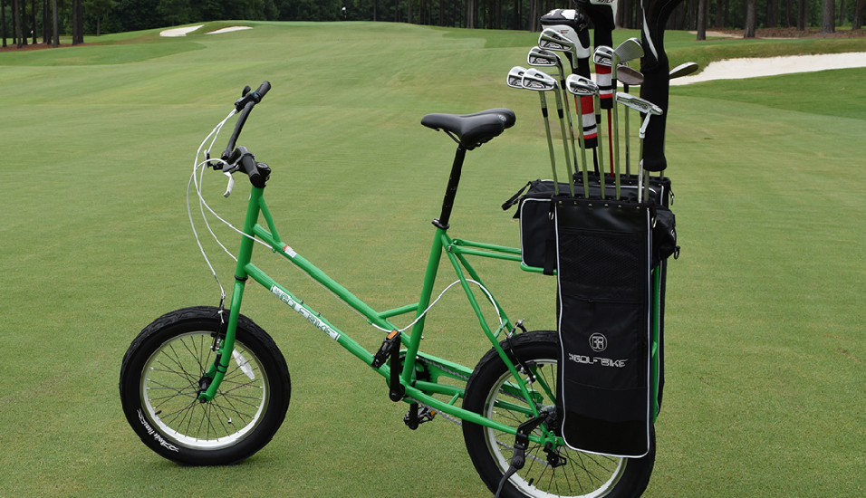 The Golf Bike features a built-in club bag, wide tires designed to do minimal damage to the turf around the course, and space for a cooler. (Michael Schwartz)