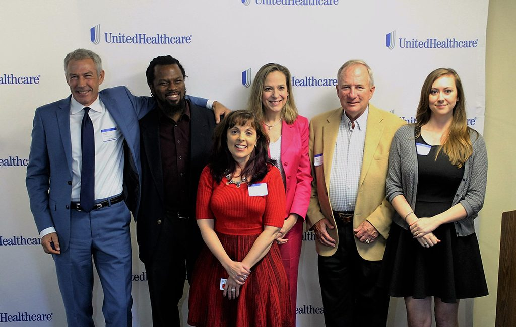 UnitedHealthcare Community Care Awards pitch competitors (from left to right): Randy O'Neill of Virginia is for Education; Sean Jefferson of Emerge Sustainable Solutions; Veronica Nugent of Simply Ballroom; Catherine Boyle of Outside In Ministries; Lee Nugent of Simply Ballroom; Catherine MacDonald of Visitry. (J. Elias O'Neal)