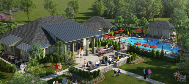 A rendering of the Barley Woods clubhouse designed by Richmond architecture firm Johannas Design Group.