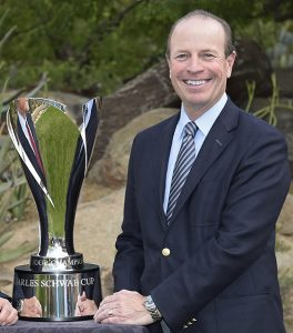 Greg McLaughlin poses with the Charles Schwab Cup Championship trophy at Desert Mountain Club on November 3, 2015 in Scottsdale, Arizona. (Chris Condon/PGA TOUR)