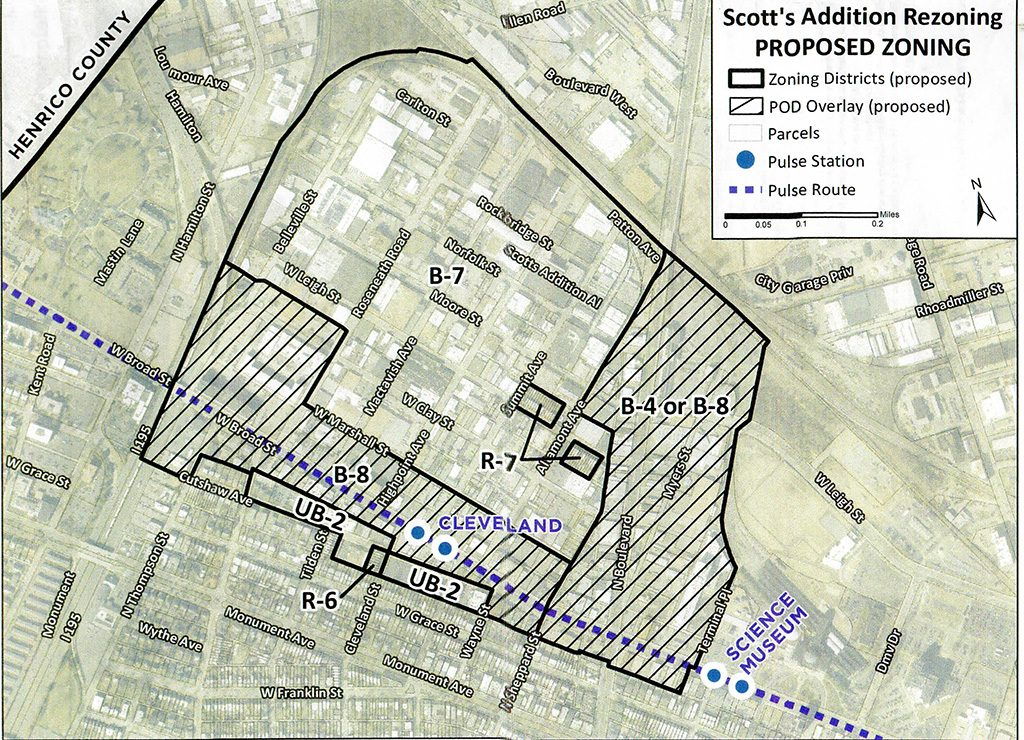 The proposed zoning map of Scott's Addition.