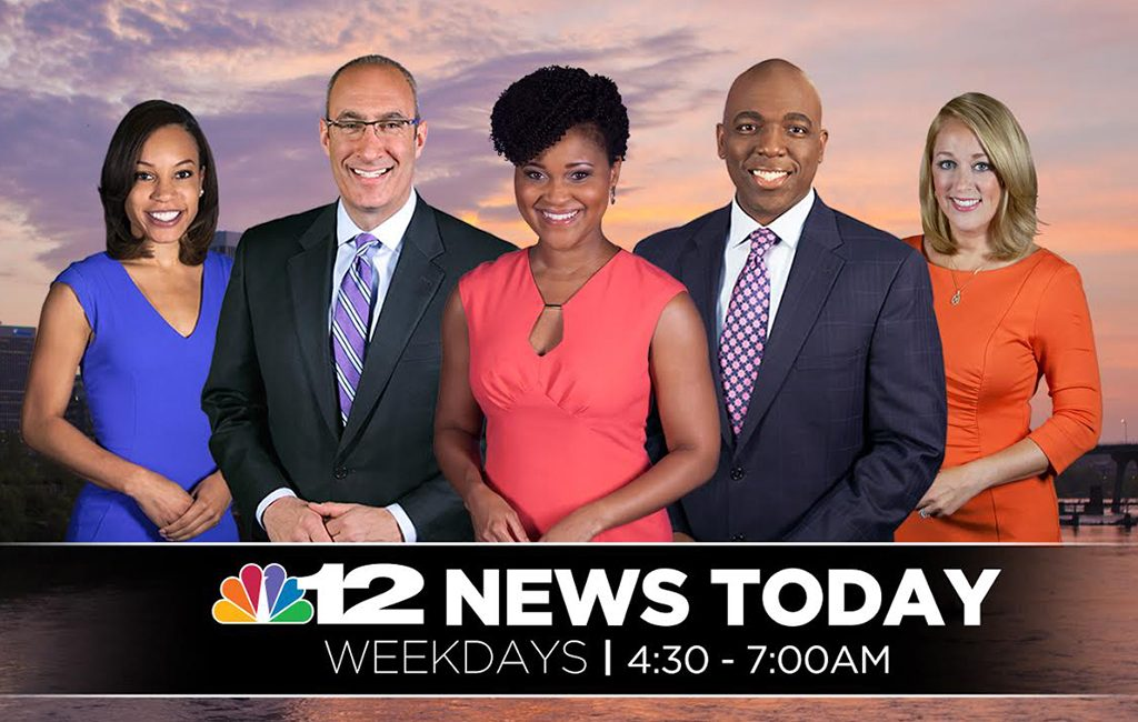 The NBC 12 morning news team, from left: Candice Smith, Andrew Freiden, Karla Redditte, Eric Philips and Sarah Bloom. (Courtesy NBC 12)
