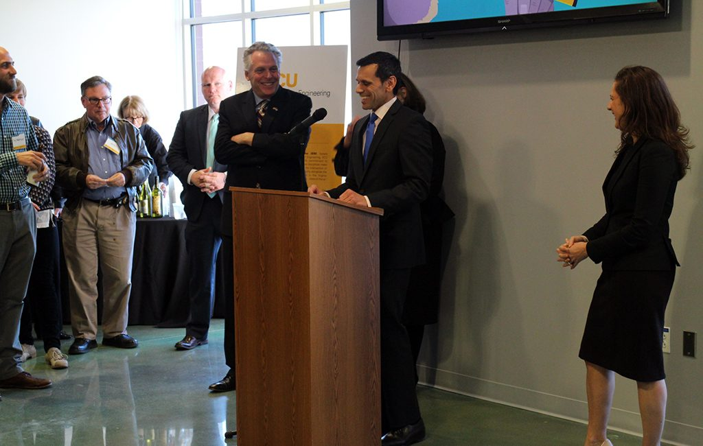 Gov. Terry McAuliffe and VCU President Michael Rao speak at the open house. (Jonathan Spiers)