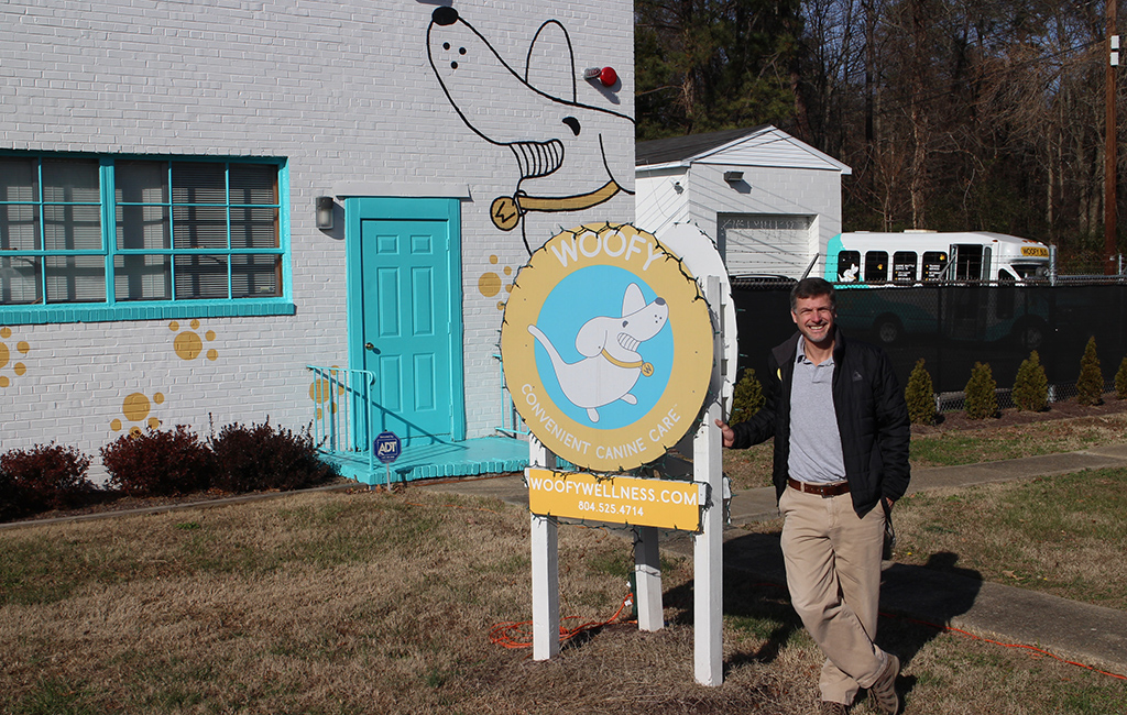 Jeff Kellogg outside the Woofy Wellness dog care center in Sandston. (Mike Platania)