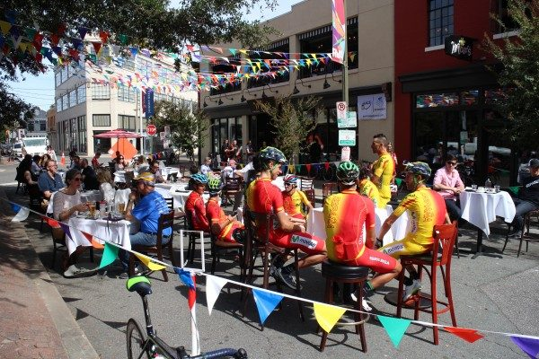 Riders in an extended sidewalk dining area during the Richmond 2015 event. (Mike Platania)