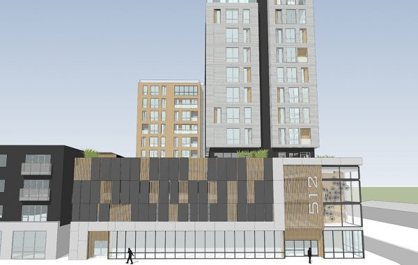 A rendering of the planned 12-story apartment complex at 512 Hull St. (SMBW Architects)