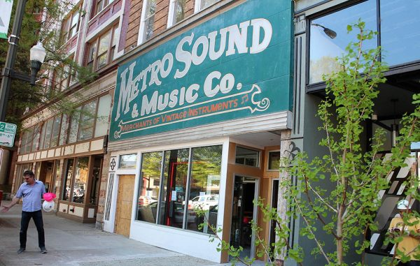Renovations on the Metro Sound & Music Co. storefront at 117-119 W. Broad St. and upper-story apartments are nearly complete. (J. Elias O'Neal)