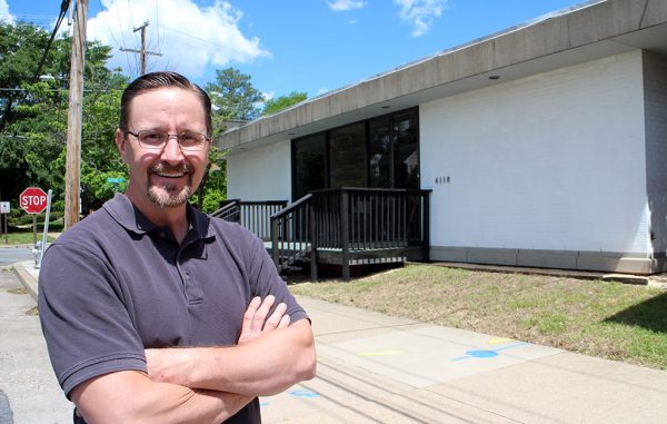 Patrick Bedall outside Sprocket Media Works' new home at 4118 Fitzhugh Ave. (Jonathan Spiers)