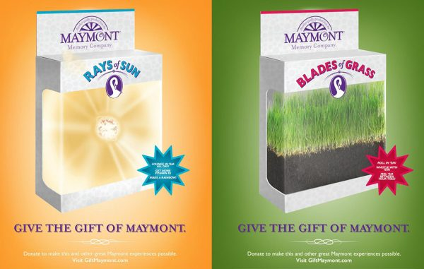 "Campaign posters advertise gift boxes from the fictional ""Maymont Memory Company."""
