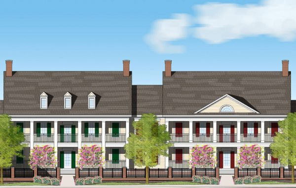 Rendering of one of the planned apartment buildings.