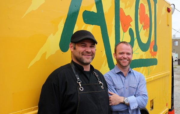 Aloi chef Scott Davies and owner Brandon Pearson in front of the food truck. (J. Elias O'Neal)