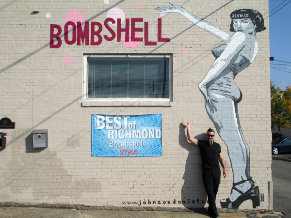 Scott Black, owner of Bombshell, outside the salon at 10 S. Crenshaw Ave. (Photo by Michael Thompson)