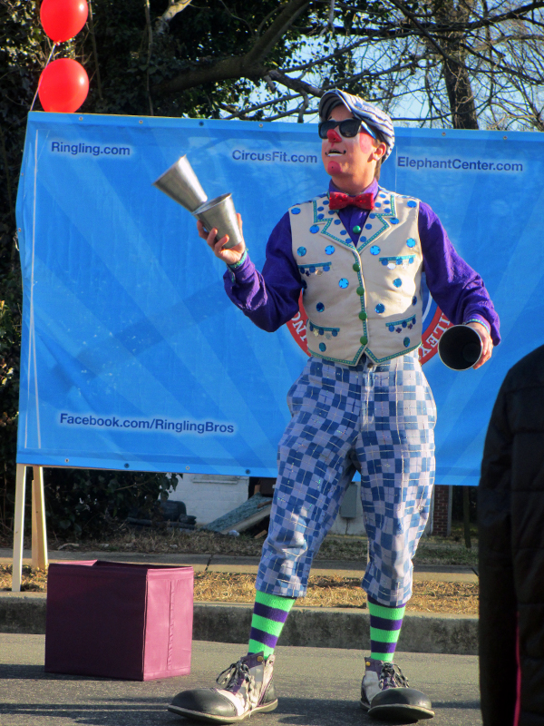 A Ringling Bros. and Barnum & Bailey clown helps make the occasion festive.