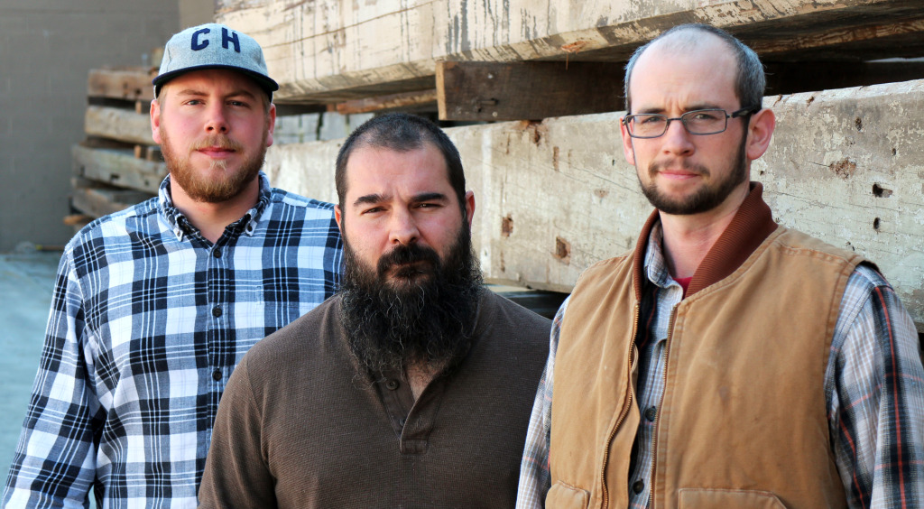 From left: Corey West, Zachary Jester and Tyler Burke of ClawHammer Co., who are raising money online for a speaker system made with reclaimed wood. Photo by Michael Thompson.