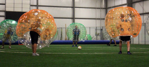 Bubble soccer players face off at