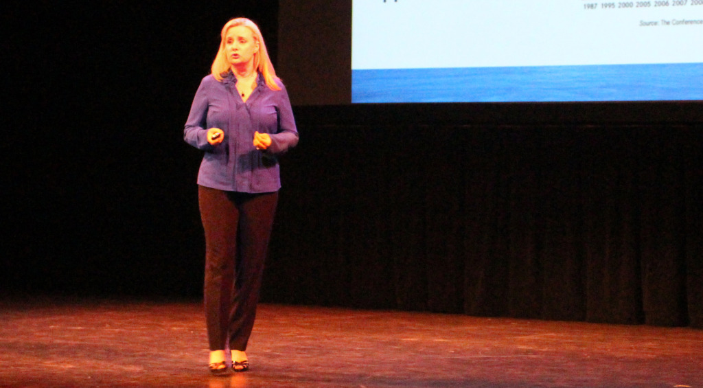Claire Herring, CEO of Blue Ocean Brain, presents at Monday's Lighthouse Labs event. Photo by Michael Thompson.