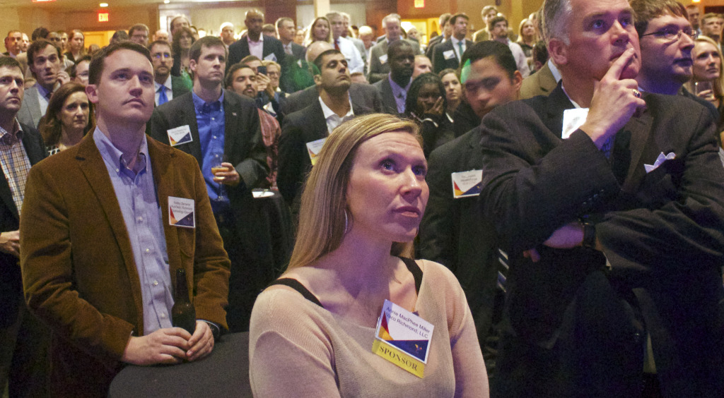 The crowd watches the award presentation at Wednesday evening's Venture Forum RVA event. Photos by Michael Thompson.